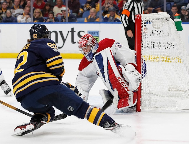 BUFFALO, NY - OCTOBER 5: Carey Price #31 of the Montreal Canadiens makes a save on Nathan Beaulieu #82 of the Buffalo Sabres during the overtime period at the KeyBank Center on October 5, 2017 in Buffalo, New York.   Kevin Hoffman/Getty Images/AFP Canadiens beat the Sabres 3-2 in a shootout == FOR NEWSPAPERS, INTERNET, TELCOS & TELEVISION USE ONLY ==