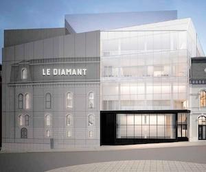 La photogravure, qui illustreral'architecture du bâtiment original, ornerala partie gauche du mur extérieur du Diamant sur la rue des Glacis.