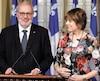 Pierre Arcand, chef intérimaire du PLQ et Hélène David, porte-parole de l'opposition en matière de laïcité.