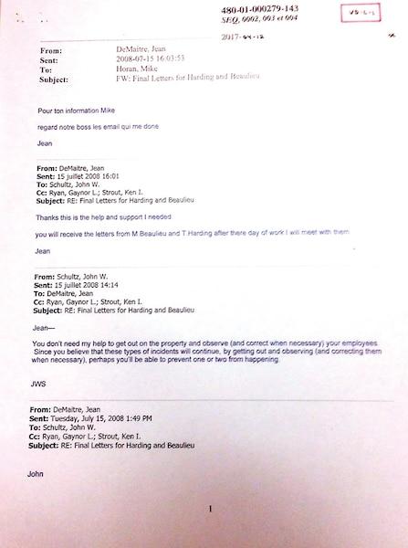 Lettres remise à Thomas Harding lors de sa suspension pour ne pas avoir mis assez de frein à main sur un train en 2008.