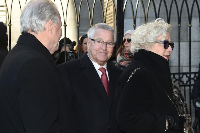 Michel Bergeron lors de l'entrée des invités aux funérailles de René Angelil, célébrées ce vendredi après-midi 22 janvier 2016, à la Basilique Notre-Dame, à Montréal.