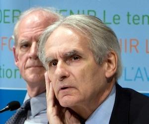 Le philosophe Charles Taylor et le sociologue Gérard Bouchard à l'époque de la commission B-T sur les accommodements raisonnables.