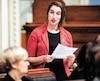 La députée solidaire de Rouyn-Noranda–Témiscamingue, Émilise Lessard-Therrien, lors de la période de questions à l'Assemblée nationale, mercredi.