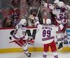 But de Mika Zibanejad lors de la période de prolongation du cinquième match de la série opposant les Canadiens de Montréal et Rangers de New York.