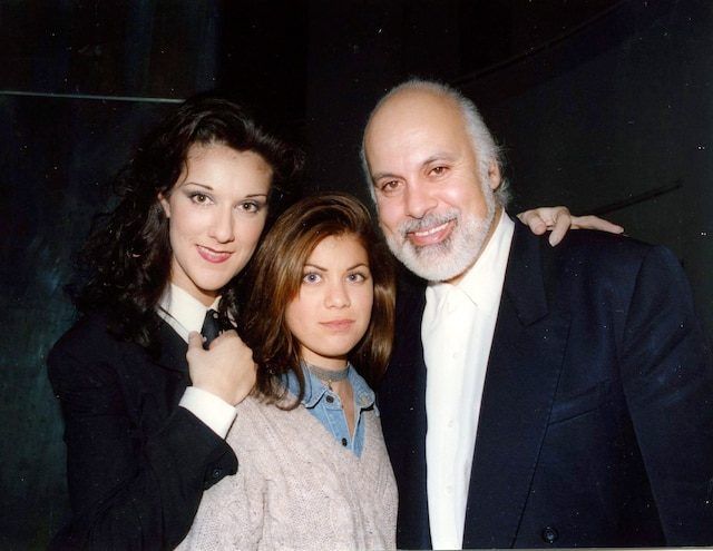 Céline Dion, Anne-Marie, fille de René Angelil et René Angelil pour les 25ans de Céline à la rotonde du Musée d'art contemporain. Mars 1993. photo Pierre-Yvon Pelletier / Le Journal de Montréal.
