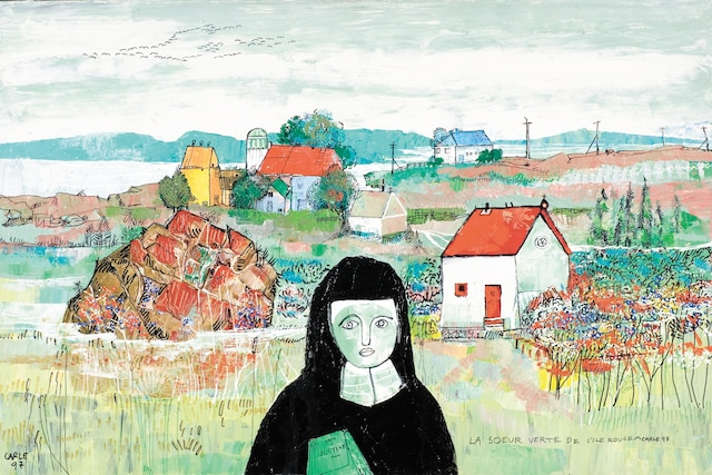 <b><i>Que vient faire cette picassienne dans ma toile? / La sœur verte de l'île rouge</b></i><br /> <b>1997 - Acrylique, 36''x24''</b><br /> Gilles Carle s'inspirait de grands maîtres tels que Pablo Picasso, Henri Matisse, de même que Pellan, Riopelle et Borduas. Dans cette toile teintée d'un humour irrévérencieux, le cinéaste dépeint avec satyre une sœur dévoyée, puisqu'elle tient sous son bras l'ouvrage de Sade, <i>Justine</i>.