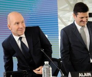 Alain Bellemare, PDG de Bombardier, et Pierre Beaudoin, président du CA, lors de la dernière assemblée annuelle.