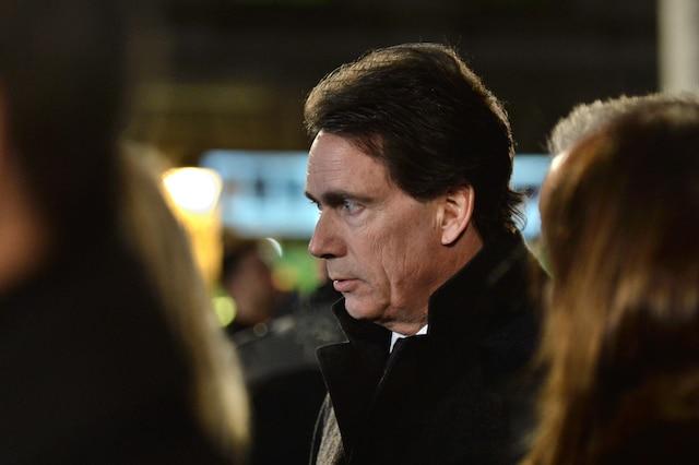 Pierre Karl Péladeau à la sortie des funérailles de René Angelil, célébrées ce vendredi après-midi 22 janvier 2016, à la Basilique Notre-Dame, à Montréal.