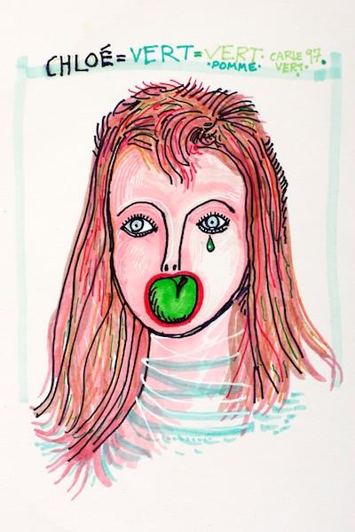 Chloé = vert = vert pomme<br /> Feutre 14'' x 17'' (1997)<br /> Carle a photographié, dessiné et peint sa muse, Chloé Sainte-Marie, sous tous ses angles et souvent de manière ludique. Ce portrait a fait l'objet de la pochette de disque de la chanteuse, l'album Je sais que tu sais, Félix de l'année 2003, folk contemporain.
