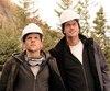 Jesse Eisenberg et Alexander Skarsgard sur le plateau de tournage du film <i>The Hummingbird Project</i> dans la région de Thetford Mines.