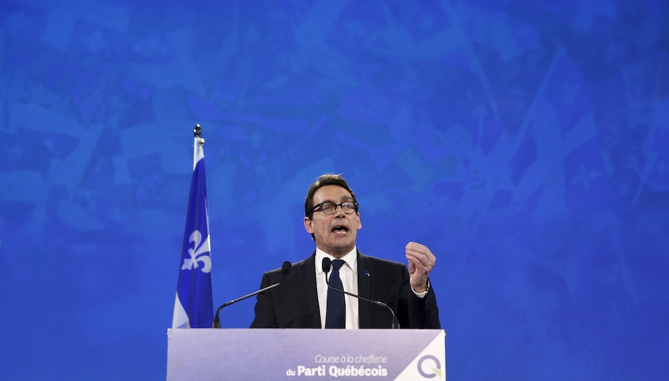 Parti Quebecois leader Pierre Karl Peladeau speaks after being elected during a ceremony at the convention center in Quebec City