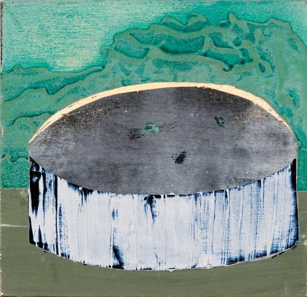 <b>Sans titre</b><br /> <b>2017 – acrylique et peinture aérosol sur bois – 13cm x 13cm</b><br /> Un tableau destiné au groupe «Vacances». Œuvre de Jessica Peters.