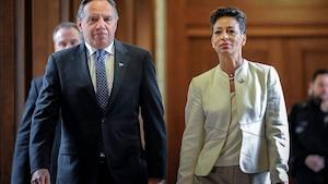 Le premier ministre du Québec, François Legault, et la ministre des Relations internationales et de la Francophonie, Nadine Girault
