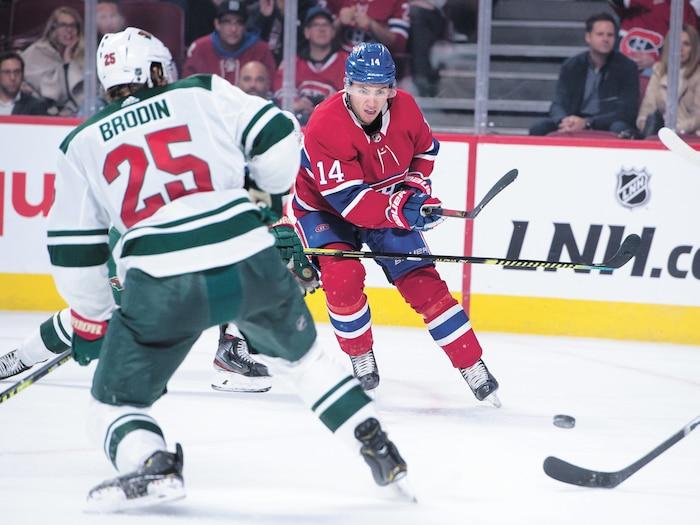 Nick Suzuki a marqué son premier but dans la LNH jeudi soir contre le Wild.