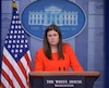 White House Deputy Press Secretary Sarah Sanders holds the daily briefing