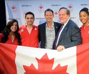 De gauche à droite: Meaghan Benfeito, Sergio Pessoa, Jean-Luc Brassard, Marcel Aubut et Jennifer Abel lors de la conférence de presse de l'annonce du chef de mission du Canada pour les Jeux d'été de 2016 au Brésil, au restaurant Le Milsa de Montréal, le jeudi 4 décembre 2014.