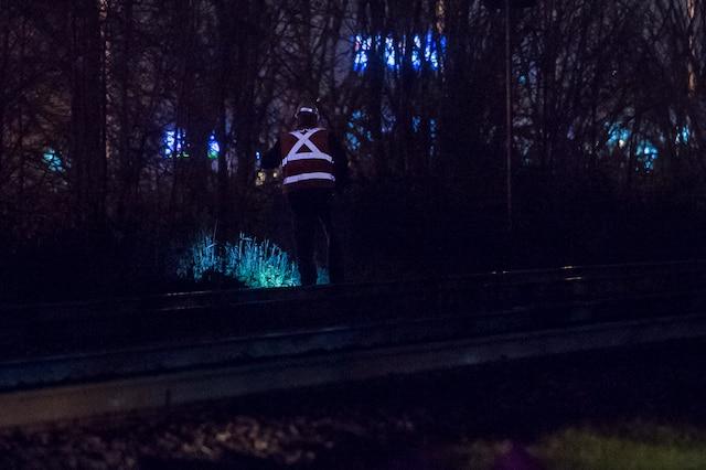 Un piéton a été percuté par un train de passagers de la compagnie Via Rail à la traversée de la rte 116 et de la Montée Robert à St-Basile LeGrand, en Montérigie. Le 1 Novembre 2018. ERIK PETERS/AGENCE QMI