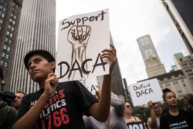 Des manifestants se sont réunis à New York pour dénoncer la décision de l'administration Trump de mettre fin au programme des «dreamers».