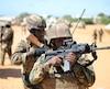 Des membres de l'Amisom en patrouille, en Somalie.