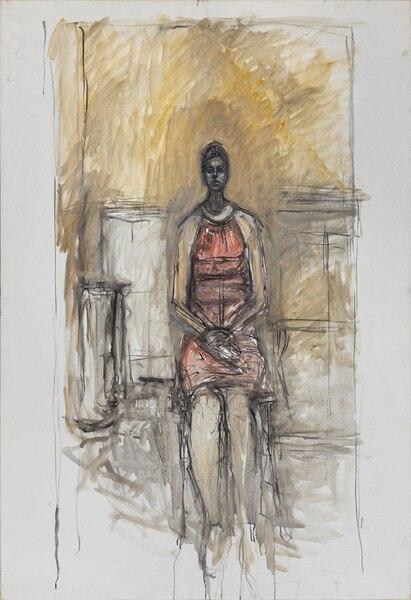 Alberto Giacometti, [Caroline assise en pied], vers 1964-1965. Huile sur toile, 136 x 95 cm © Succession Alberto Giacometti/ SODRAC pour le Canada (2018)
