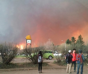 Students from Fort McMurray Composite High School are released early as wildfire burns nearby in Fort McMurray Alberta