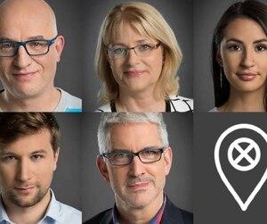 Alain Vadeboncoeur, Claire Bolduc, Maïtée Labrecque-Saganash, Gabriel Nadeau-Dubois et Jean-Martin Aussant, personnalités initiatrices e la tournée Faut qu'on se parle.