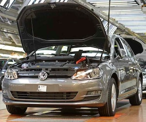 The production line is seen the Volkswagen auto plant in Wolfsburg