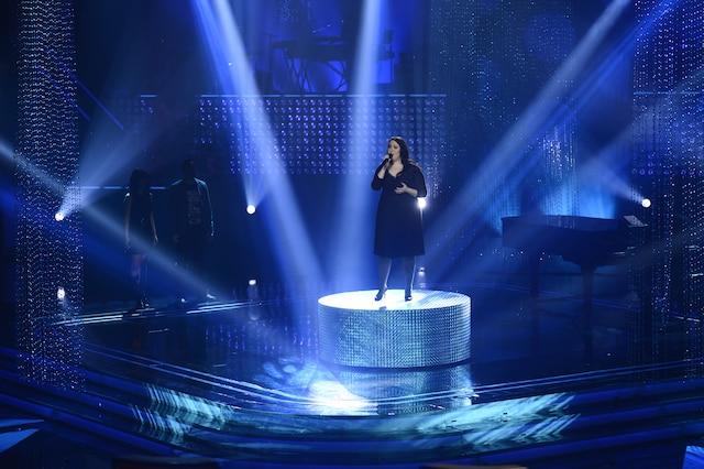 La grande finale de «La Voix» a eu lieu le 13 avril 2014 à Montréal. Sur la photo, Renée Wilkin de l'équipe de Marc Dupré.