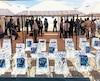 On voit ici une image prise lors de l'ouverture du camp sécurisé de l'Union européenne en Somalie, en mai 2018.