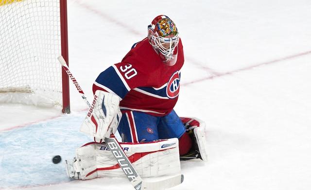 Un arrêt de (30) Peter Budaj en deuxième période lors du match opposant les Kings de Los Angeles et le Canadien de Montréal au centre Bell.