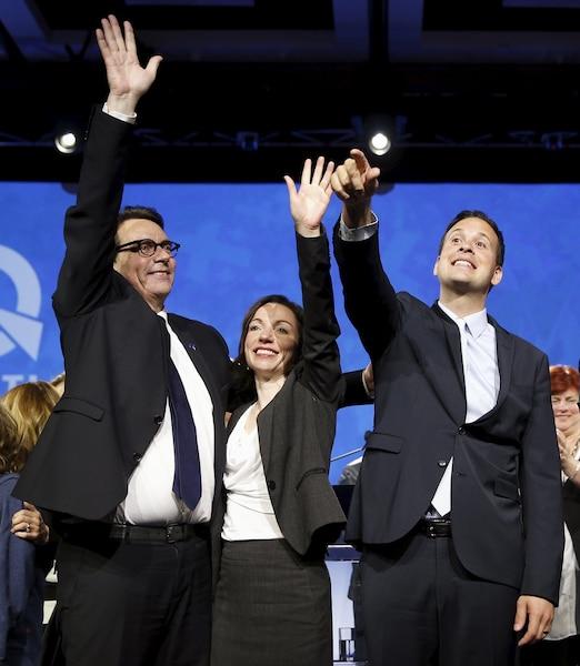 Les trois derniers candidats à la direction du PQ, Alexandre Cloutier et Martine Ouellet.