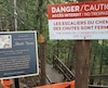 Uséet dangereux, l'escalier du chemin des chutes a été condamné pour la saison estivale 2019.