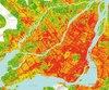 Distribution de chaleur dans région de Montréal
