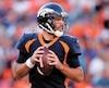 Le quart-arrière des Broncos, Joe Flacco, à l'oeuvre dimanche.
