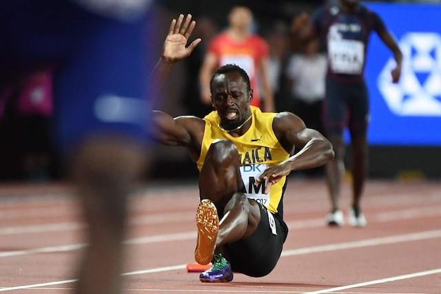 Usain Bolt s'est blessé lors de sa dernière course, le 4x100 m, aux Championnats du monde à Londres.