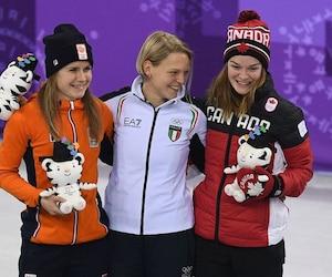 Kim Boutin a partagé le podium avec la Néerlandaise Yara Van Kerkhof (argent) et l'Italienne Arianna Fontana (or).