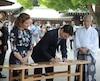 Justin Trudeau, Sophie Grégoire Trudeau et Shinzo Abe.