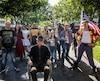 « Cosplayers » au Dorchester Square à Montréal, dans le cadre du Comiccon de Montréal, mercredi le 5 juillet 2017. Sur cette photo: Heath Harrison, au personnage du film « Ghostbusters ». Lea Heppell, au personnage de X-23 du film « Logan ». Pierre Farah Lajoie, au personnage de Logan du film « Logan ». Madeleine Proulx, au personnage de Jean Gray Phoenix des bandes dessinées « X-Men ». Magias Verheyden, au personage du restaurant « Wendy's ». Jose R. Muno, au personnage d'un starfleet officer du film « Startrek » Dean Ross, au personnage de Xavier du film « Logan ». Simon lafontaine, au personnage de Ace Ventura. Jonathan Le Guidard, au personnage de Captain America. Jean François Landry, au personagge de Star Lord du film « Guardians of the Galaxy » Jason rockman, le port-parole pour Comicon de Montréal. DARIO AYALA/AGENCE QMI