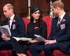 Le prince William, Meghan Markle et le prince Harry.