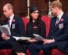 Le prince William, Meghan Markle et le prince Harry.
