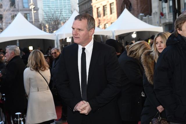 Vincent Damphousse lors de l'entrée des invités aux funérailles de René Angelil, célébrées ce vendredi après-midi 22 janvier 2016, à la Basilique Notre-Dame, à Montréal.