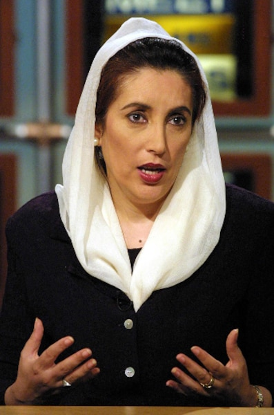 NO SALES, NO ARCHIVE, MUST USE BY OCTOBER 21, 2001Former Prime Minister of Pakistan Benazir Bhutto talks about the current political situation in Pakistan on NBC's 'Meet the Press' 14 October  2001 during a taping at the NBC studio in Washington, DC.  AFP PHOTO/Alex WONG