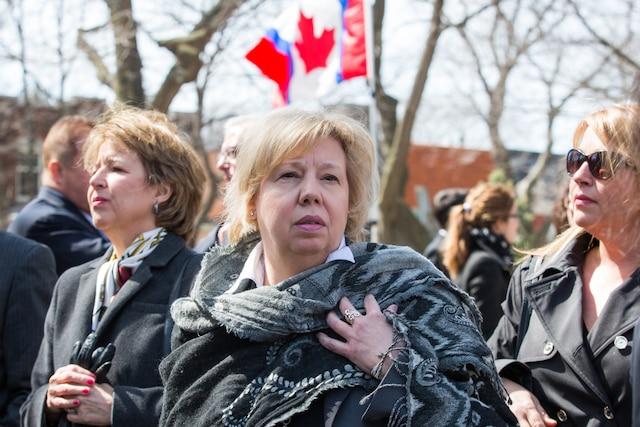Funérailles à la mémoire de Monsieur Jean Lapierre et de Madame Nicole Beaulieu à l'église St-Viateur d'Outremont à Montréal, le samedi 16 avril 2016. Sur la photo: Josée Legault. TOMA ICZKOVITS/AGENCE QMI