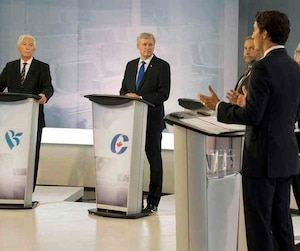 Bloc Quebecois leader Gilles Duceppe, Conservative leader Stephen Harper, NDP leader Tom Mulcair, Green party leader Elizabeth May and Liberal leader Justin Trudeau at the French language leaders debate in Montreal