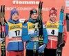 Alex Harvey (à droite) est arrivé troisième samedi à l'avant-dernière épreuve du Tour de ski. Le Kazakh Alexey Poltoranin (au centre) et le Russe Sergey Ustiugov (à gauche) ont arraché les première et deuxième places du podium.
