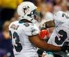 Miami Dolphins cornerback Jason Allen celebrates with Moses after interception against Minnesota