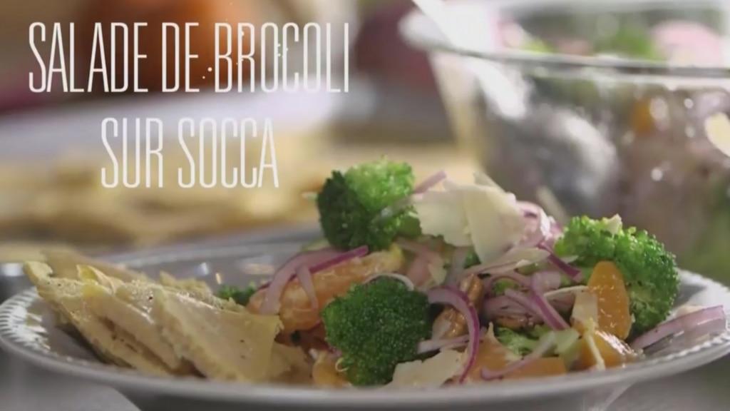 Salade de brocoli et socca