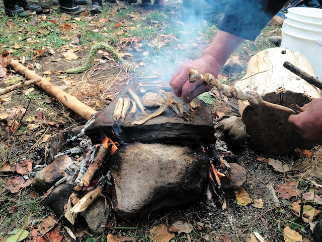 Sur des pierres plates chauffées sur le feu, on fait cuire des harengs séchés et du pain fait de graines de plantes sauvages broyées trouvées dans la forêt.