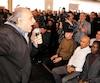Un chauffeur de taxi s'est spontanément adressé à la foule avec fougue, lors d'une assemblée des chauffeurs, à Montréal.