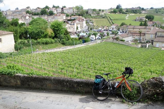 Une montée à vélo vers le domaine viticole du château Ausone en Gironde.